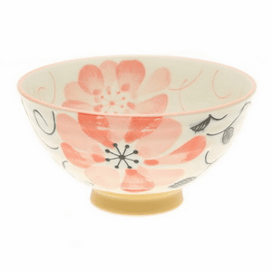 Pink Water Color Flower Ceramic Rice Bowl