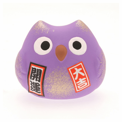 "Purple Ceramic Owl Lucky Charm <br>Friendship ""Ningenkankei-un"""