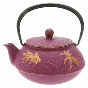 Purple/Gold  Goldfish Cast Iron Tea Pot by Iwachu,  20 oz.