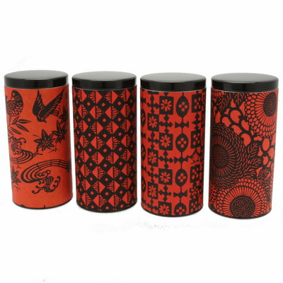 Red and Black Patterned Tea Canisters, Set of Four, Holds 200 Grams