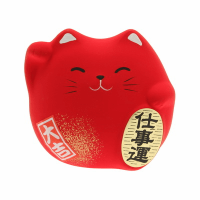 "Red Ceramic Maneki Neko Successful<br> Career Cat Charm ""Shigoto-un"""