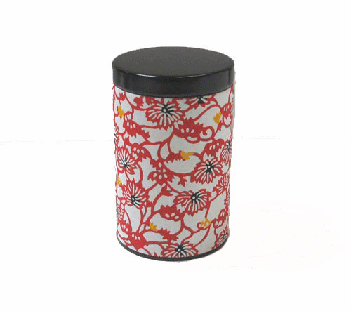 Red Flower Tea Canister,  <br>Holds 100 Grams