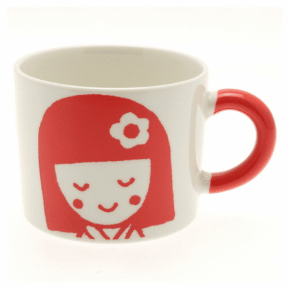 Red Kokeshi Girl Mug, 12 oz.