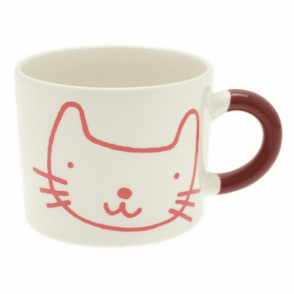 Red-Purple Cat Mug, 12 oz.