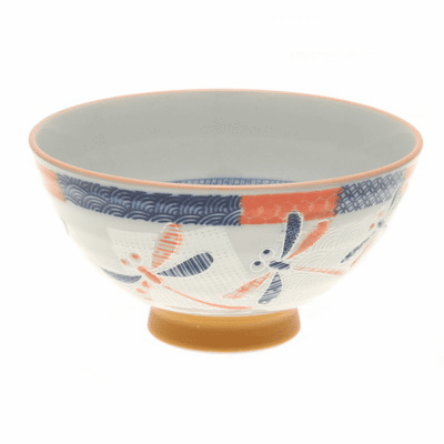 Red Textile Dragonfly Ceramic Rice Bowl