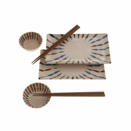 Ryukyu Craft Spokes Plate and Chopstick Set
