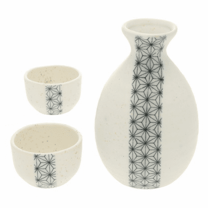 Sashiko Sake Container & 2 Cups Set