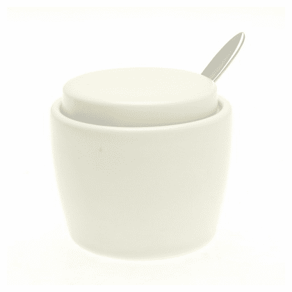 Satain White Condiment Container with lid and Spoon