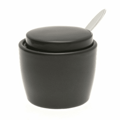 Satin Black Condiment Container <br>with lid & Spoon