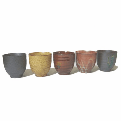 Set of Five Rokubei Ceramic Tea Cups 4.5 oz.