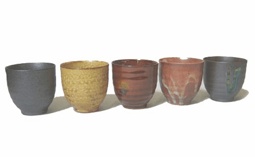Set of Five Rokubei Ceramic Tea <br>Cups 4.5 oz.