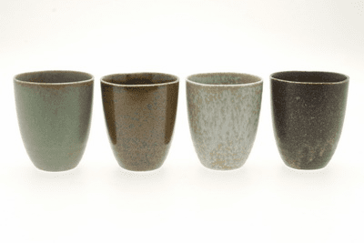 Set of Four Pacific Forest Matte Ceramic Tea Cups 8 oz.