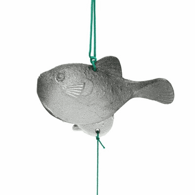 Silver & Black Cast Iron Puffer-fish  <br>Wind Chime