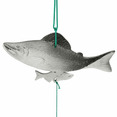 Silver & Black Cast Iron Salmon with  <br>baby salmon Wind Chime