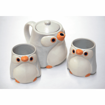 Sky Blue and White Penguin Tea Set