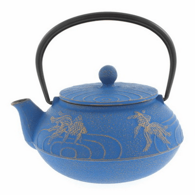 Sky Blue/Gold Goldfish Cast Iron <br>Tea Pot by Iwachu, 20 oz.