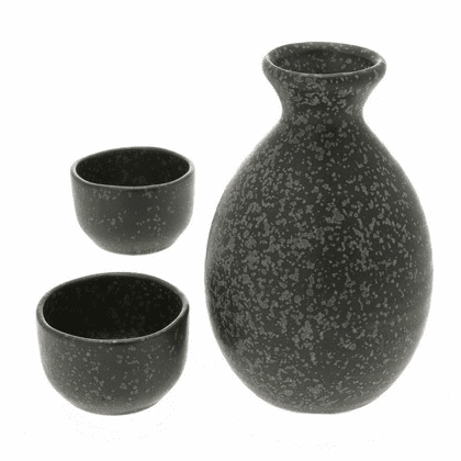 Speckle Black Sake Container & 2 Cups Set