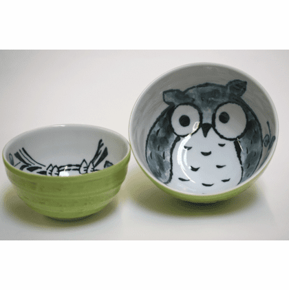 "Spring Green Owl Bowls 5-1/4"" <br>or 6-1/4"""