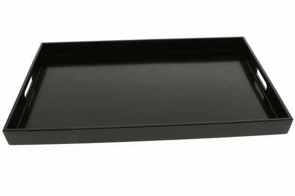 "Textured Black Color Plastic <br> Lacquerware Tray, 18-5/8"" x 12-1/4"" x 1-1/2"""