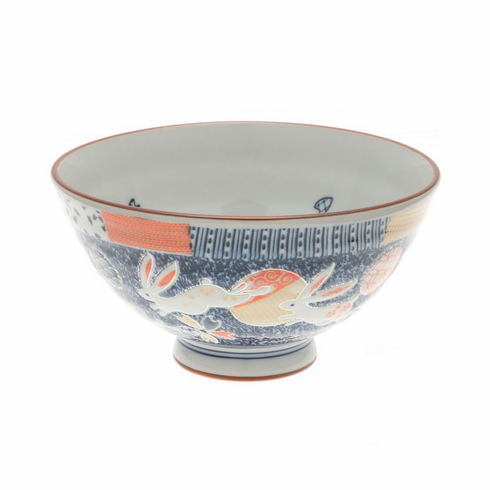 Three Rabiits Medallions Ceramic Rice Bowl