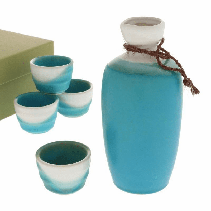 Turquoise Matte & White Sake Container & 4 Cups Set