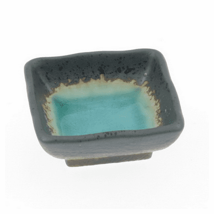 "Turquoise Sky Glazed Sauce Dish <br>2-3/4"" Sq."
