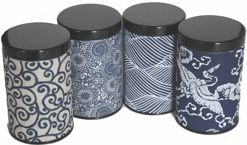 Two Different Size Multi Pattern  <br><i>aizome</i> Tea Canisters, Set of Four, <br> Holds 100 or 200  Grams