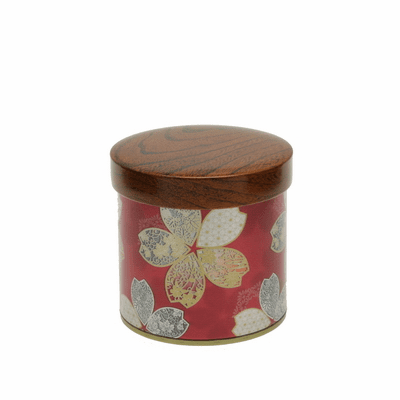 Velvet Red Metallic Sakura Tea Canister, 150 Grams