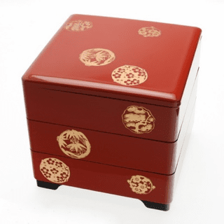 Vermillion Crests Lacquer Ware<br> Stack/Jubako Box