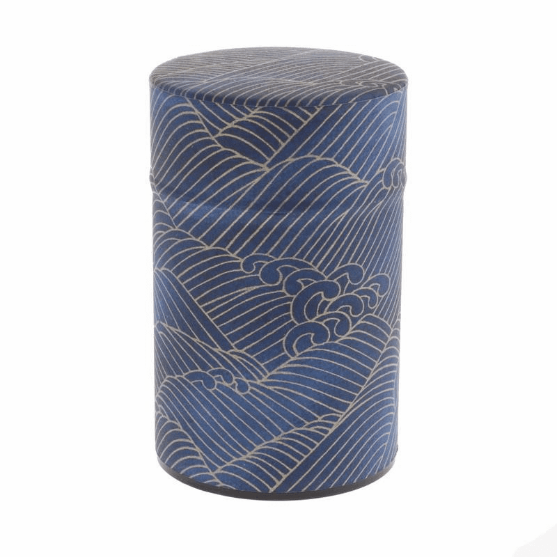 Wazome Indigo & Gold Waves Tea Canister, Holds 150 Grams