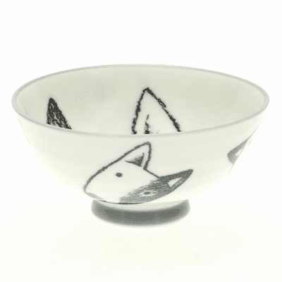 White and Black Bull Terrier Face Rice Bowl