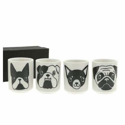 White & Black 4 Dog Faces Tea Cups Set 5 oz.