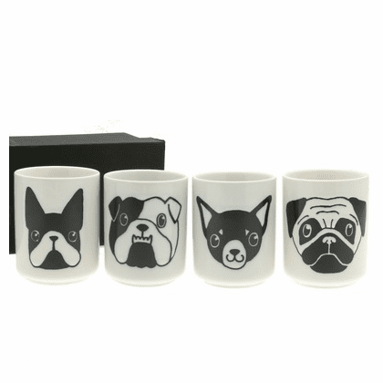 White & Black 4 Dog Faces Tea<br> Cups Set, 7 oz.