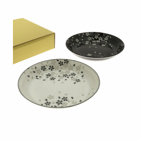White & Black Blossoms Shallow bowls Set