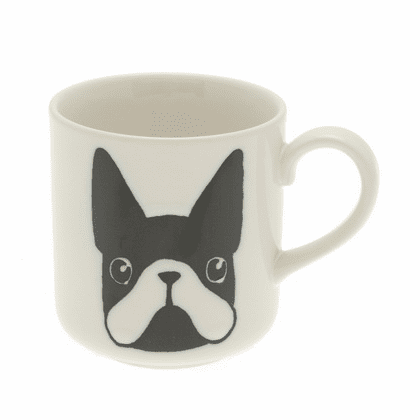 White & Black Boston Terrier Mug 8 oz. Size