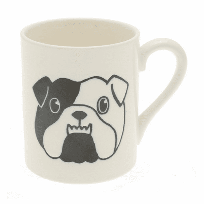 White & Black Bulldog Mug, 10 oz.