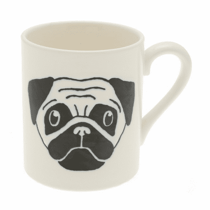 White & Black Pug Mug, 10 oz.