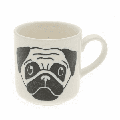 White & Black Pug Mug, 8 oz.