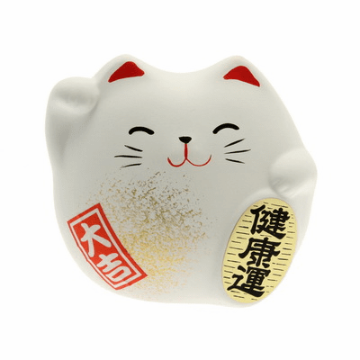 "White Ceramic Maneki Neko Good <br>Health Cat Charm ""Kenkoh-un"""