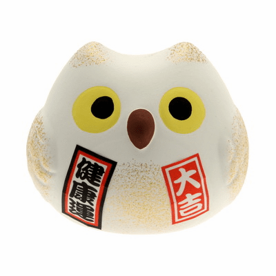 "White Ceramic Owl Good Health <br>Cat Charm ""Kenkoh-un"""