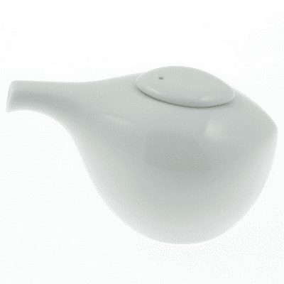White Ceramic <br>Sauce Dispenser, 3 oz