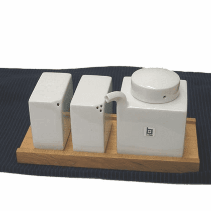 White Hakusan  Porcelain Seasoning<br> Set,  Design by Mori