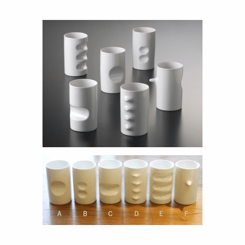 White Hakusan Porcelain Six <br>Fancy Cups Designed <br>by Masahiro Mori