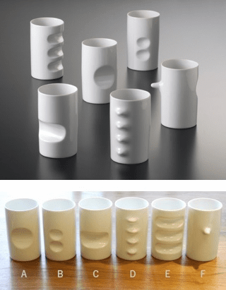 White Hakusan Porcelain Six Fancy Cups Designed by Masahiro Mori