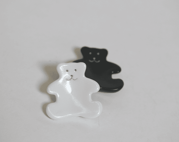 White or Black Happy Teddy Bear <br>Ceramic Chopstick Rest