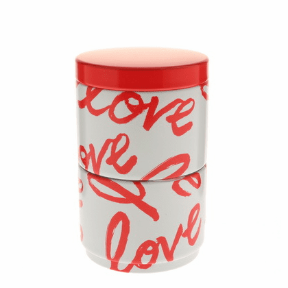 "White & Red ""Love"" Stack Tea Canister, 120 Grams"