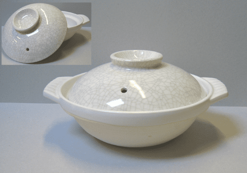 "White Sumi Kannyu Donabe<br> Pot/Japanese Hot Pot 7-1/4"", 8-1/2"",<br>9-3/4"", 10-3/4"" and 12"""