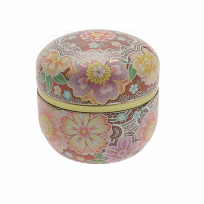 Wine Cloisonne Cherry Blossom Tea Canister, Holds 100 Grams