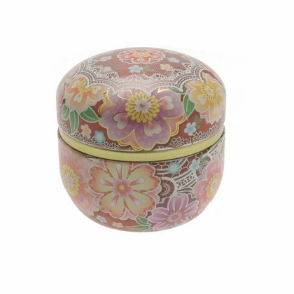 Wine Cloisonne Cherry Blossom <br> Tea Canister, Holds 100 Grams