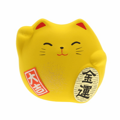 "Yellow Ceramic Maneki Neko Wealth <br>Cat Charm ""Kin-un"""